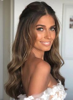 128 fabulous long wedding hairstyles to copy right now page 9 Half Up Wedding Hair, Long Hair Wedding Styles, Long Formal Hair, Simple Wedding Hair, Front Hair Styles, Curly Hair Styles, Down Hairstyles, Easy Hairstyles, Evening Hairstyles