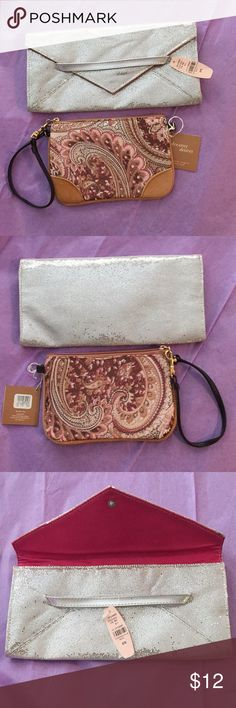 Victoria's Secret Silver Clutch & Paisley Wristlet Victoria's Secret Silver Glitter Envelope Snap Clutch & Tan, Brown, Cream and Mauvey Dark Pink Corally Paisley Wristlet. The pinkish tone in the wristlet is hard to describe-will match numerous shades as my eyes see it. New never used with tags from sets. You will receive both of them 😊 Victoria's Secret Bags Clutches & Wristlets