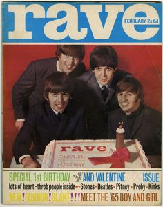 The Fabs on the cover of the 1st birthday issue of Rave magazine, February 1965