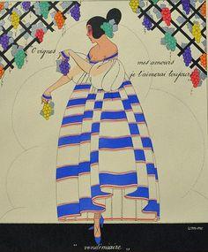 Martha Romme 1919 'Vendimiere - September ' Les douze mois de l'année aquarelle (watercolor)