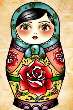 Flowers And Matryoshka Tattoo Sample