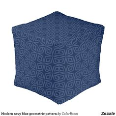 Modern navy blue geometric pattern pouf Navy Blue Cushions, Navy Blue Throw Pillows, Blue Living Room Decor, Blue Home Decor, Living Room Cushions, Personalized Pillows, Navy And White, Decorative Pillows, Nice