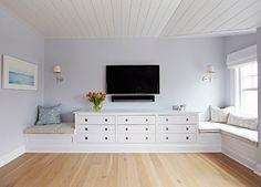 Bedroom Built in Dresser, window seat and TV. Chango & Co.