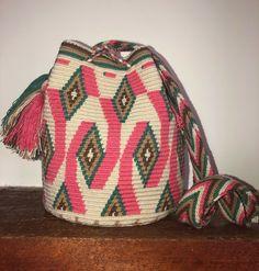 Authentic 100% Wayuu Mochila Colombian Bag Medium Size Gorgeous Soft Colors    eBay Tapestry Bag, Unique Bags, Medium Bags, Knitted Bags, Large Bags, Soft Colors, Bucket Bag, Knitting, Knits