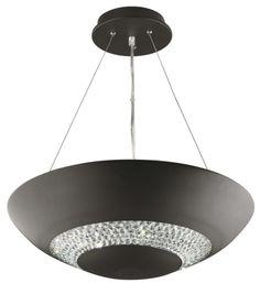 3448-8BK HALO - závesné LED s krištáľom - čierne - 480mm