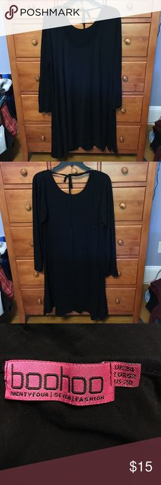 Cute black tie-back dress Super soft long sleeve dress. Flares at bottom and very flattering on. Tie back. Worn a few times and in great condition. No fading. Boohoo Dresses Long Sleeve