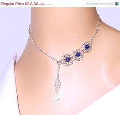 Silver and blue byzantine romanov chainmaille lariat by NezDesigns, $18.75