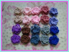 "MM03 20 MIX Crochet Flower 2 Layer Handmade 1"" Cute Craft Cloth Baby Hair | eBay"