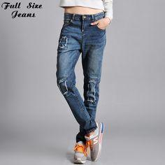 4Xl 5Xl 6Xl Retro Boyfriend Blue Ripped Jeans Patchwork Plus Size Loose Straight Harem Denim Pants Destroyed Distressed Trousers