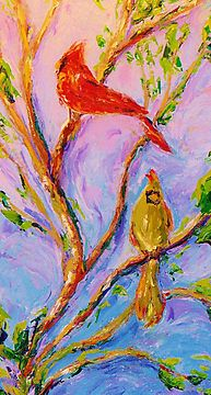 My  oil painting of a cardinal pair  I used the newest thing from Hobby Lobby ...water -soluble oil paints  they are wonderful and easy to clean up after just soap and water and no more harsh chemicals like turpentine and paint thinners