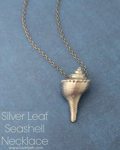 Silver Leaf Seashell Necklace ~ With a shell too tiny to drill, use glue to afix a pendant bail.  #handmade #jewelry