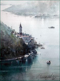 Dusan Djukaric · View on Perast, watercolor, 37x26 cm