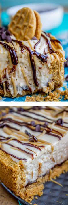 No Bake Frozen Peanut Butter Pie with Hot Fudge Layer from The Food Charlatan. The peanut butter pie to end all peanut butter pies! It's frozen but still smooth and creamy, has a Nutter Butter crust (!!) and a thick layer of fudge at the bottom. Oh my! Did I mention it's a no bake??
