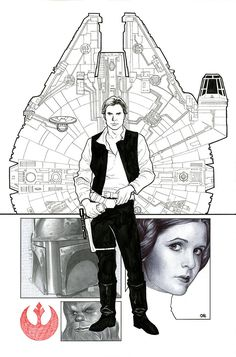 Marvel's Star Wars no.001 variant comic-book cover art layout/sketch/pencils by Frank Cho