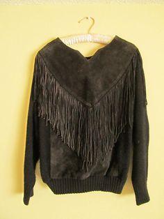 RachelJustineVintage Leather Fringe Sweater