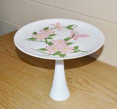 Vintage Pink Cake plate Pink Butterfly Cake Plate by JudysJunktion, $21.00