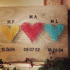Triple the Love Custom string art string hearts by TautlyTangled, $35.00