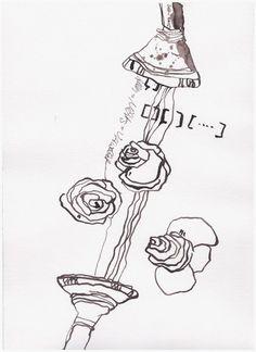 """Drawing Ink Art  Jürgen sendet mir """"Alles = Nichts"""" Ich sende ihm """"Alles = Nichts = Verwelkt"""". Ich arbeite gerade an meinem 5. Buch und zeichne Rosen. Ich finde, Rosen werden auch weggeschüttet, nämlich dann, wenn ..."""
