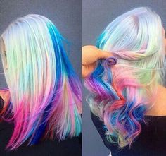 Blonde rainbow hair pink blue and pastel