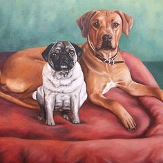 Pug and Ridgeback, oil on canvas, painting by Nicole Zeug, www.arts-and-dogs.de