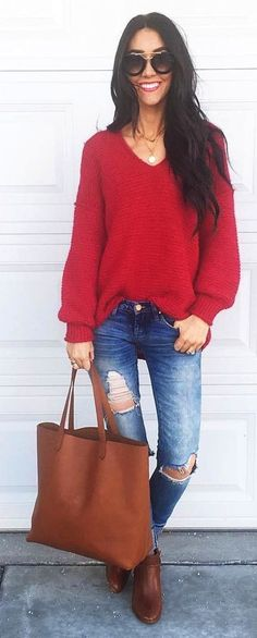 official photos bfe23 47e65  winter  fashion   Red V-neck Knit + Camel Leather Bag + Bleached