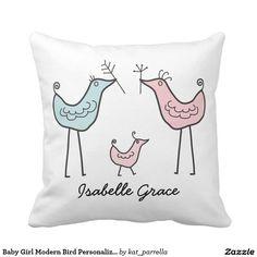 Baby Girl Modern Bird Personalized Nursery Pillow