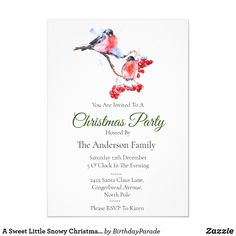 A Sweet Little Snowy Christmas Robin Party Invitation Christmas Party Invitations, Rudolph The Red, Red Nosed Reindeer, Party Hats, Happy Holidays, Christmas Stockings, Robin, Christmas Decorations, Santa
