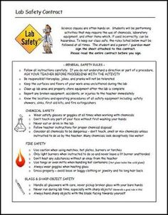 FREE  Sample Science Disclosure Document And Safety Contract   Great  Science Teacher Lesson