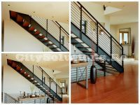 Interior stairs with two side stringers to support the steps of wood, metal or glass. Interior stairs made of painted steel. Glass Stairs, Floating Stairs, Wooden Stairs, Interior Stairs, Interior Decorating, Interior Design, Wood Interiors, Spiral Staircase, Diy Home Decor