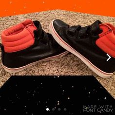 Crazy 8 Leather Hightops Boys size 4 leather Hightops in good condition and ready to be worn! They're orange and black and ready to be worn! Also velcro! Crazy 8 Shoes