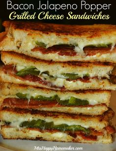These Bacon & Jalapeno Popper Grilled Cheese Sandwiches are a delicious twist on the classic grilled cheese. A word of warning though; they are addictive!