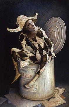 "artist Claude Verlinde - ""Harlequin in the box"" - surrealist Dark Circus, Circus Art, Art Sculpture, Sculptures, Arte Punch, Pierrot Clown, Night Circus, Paperclay, Vintage Circus"