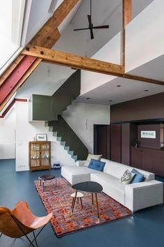 Colorful Loft in Amsterdam 🎨 Interior Exterior, Interior Architecture, Interior Design, Lofts, Loft Spaces, Living Spaces, Estilo Interior, Colourful Living Room, Basement Flooring