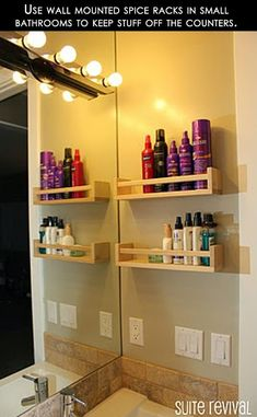 Spice rack shelves for small bathroom