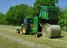 Balers - are implements used for packaging hay, or straw to permit mechanized handling and transport.   The two most common bale formats are large round bales (> 4 feet in diameter) and large rectangular bales (up to 8 feet in length). Large bales can weigh more than 2,000 pounds.