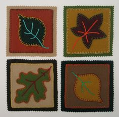 felted wool project patterns | Free Pattern – Autumn Mug Mats in Wool Applique! | Dmcthread's Blog