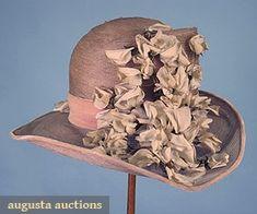 WIDE BRIM SUMMER CLOCHE, 1920s Pale lavender horsehair w/ pink velvet ribbon & white cloth sweet pea decoration