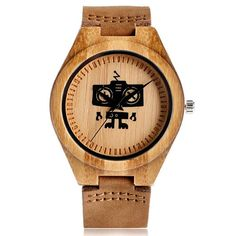 Hot Selling Wood Wristwatch Creative Robot Pattern Genuine Leather Band at price: Product Features: Nature Wood Case Movement: Quartz Band Material: Genuin Unisex Christmas Gifts, Boys Watches, Wrist Watches, Cool Robots, Thing 1, Casual Watches, Unique Watches, Luxury Watches, Wooden Watch