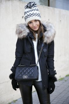 WINTER MOOD - fur jacket coat sweater leather pants