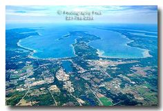Aerial View of Grand Traverse Bay, Traverse City, MI