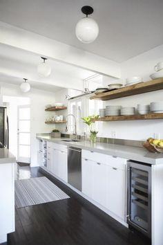Urban-Galley-Kitchen-Eichler-House-Reclaimed-Wood-Floating-Shelves-Remodelista
