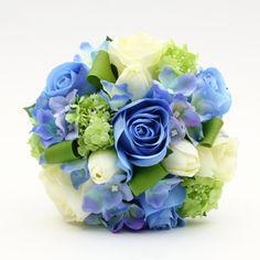 Artificial Silk Wedding Flowers - Blue, Green, Ivory Bridesmaid's Handtied
