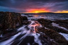 https://flic.kr/p/DA5wha   The Rush   A stunning sunset along the rocky shore of Bailey Island