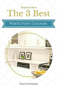 The 3 Best Benjamin Moore white paint colours with undertones. For walls, cabinets, trims, ceilings. Cloud White, Simply White, White Dove. Kylie M Interiors