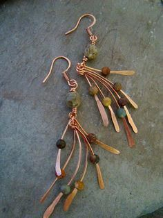 50 Fabulous And Fancy Earrings You'll Actually Want To Wear artisan-copper-metalwork-jasper-bead-earrings Fancy Earrings, Copper Earrings, Copper Jewelry, Bead Earrings, Wire Jewelry, Jewelry Crafts, Beaded Jewelry, Jewelry Ideas, Copper Wire