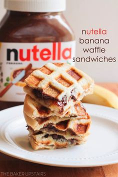 Nutella banana waffle sandwiches - so simple and out of this world delicious! www.thebakerupstairs.com