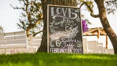 Chalkboard Art // Wedding Sign // Love, Laugher, & Happily Ever After // Memory Lane Event Center Wedding // Dripping Springs // Austin Wedding Photographers – Happy Day Media