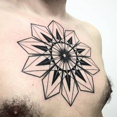 Geometric mandala tattoo on the chest. Tattoo Artist: Melow Perez