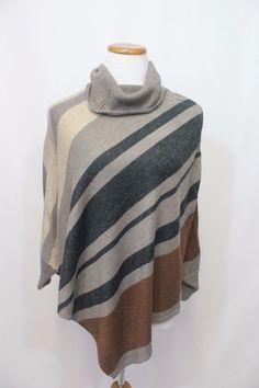 ANN TAYLOR LOFT Poncho Sweater Grey Black Cream Brown Soft Knit Size Petit XS #AnnTaylorLOFT #Poncho