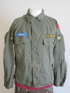 6b300c3fd49 Vintage 60s Mens U s Army Military Patches Long Sleeves Punk Shirt Army  Style